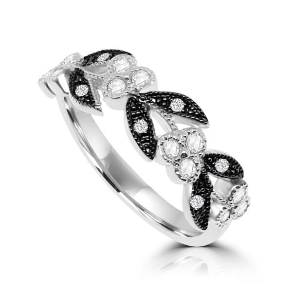 Closeup photo of 18k White & Black Gold Vine Leaf Ring with Rose Cut Diamonds