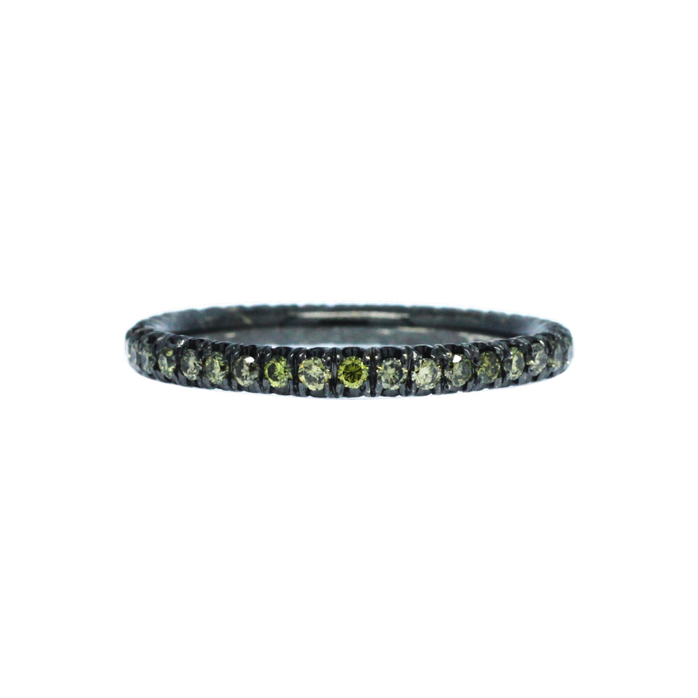 18k Black Gold Stack Band with Green Diamonds