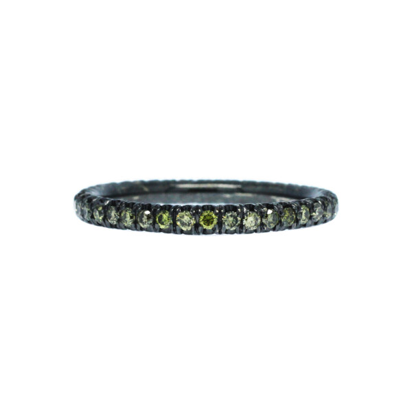Closeup photo of 18k Black Gold Stack Band with Green Diamonds