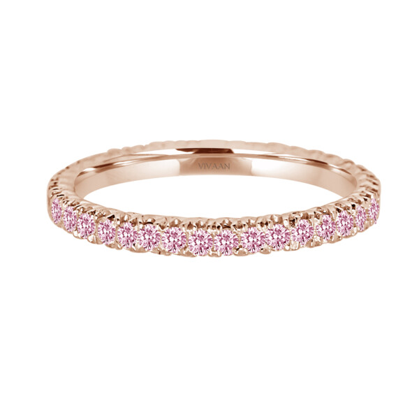 Closeup photo of 18k RG Pink Diamond Stack Band