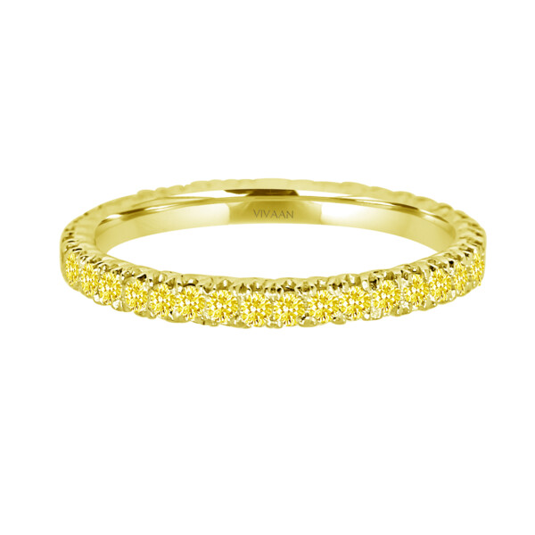 Closeup photo of 18k YG Yellow Diamond Stack Band