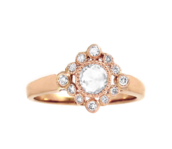 Closeup photo of 18k RG Rose Cut Diamond Ring