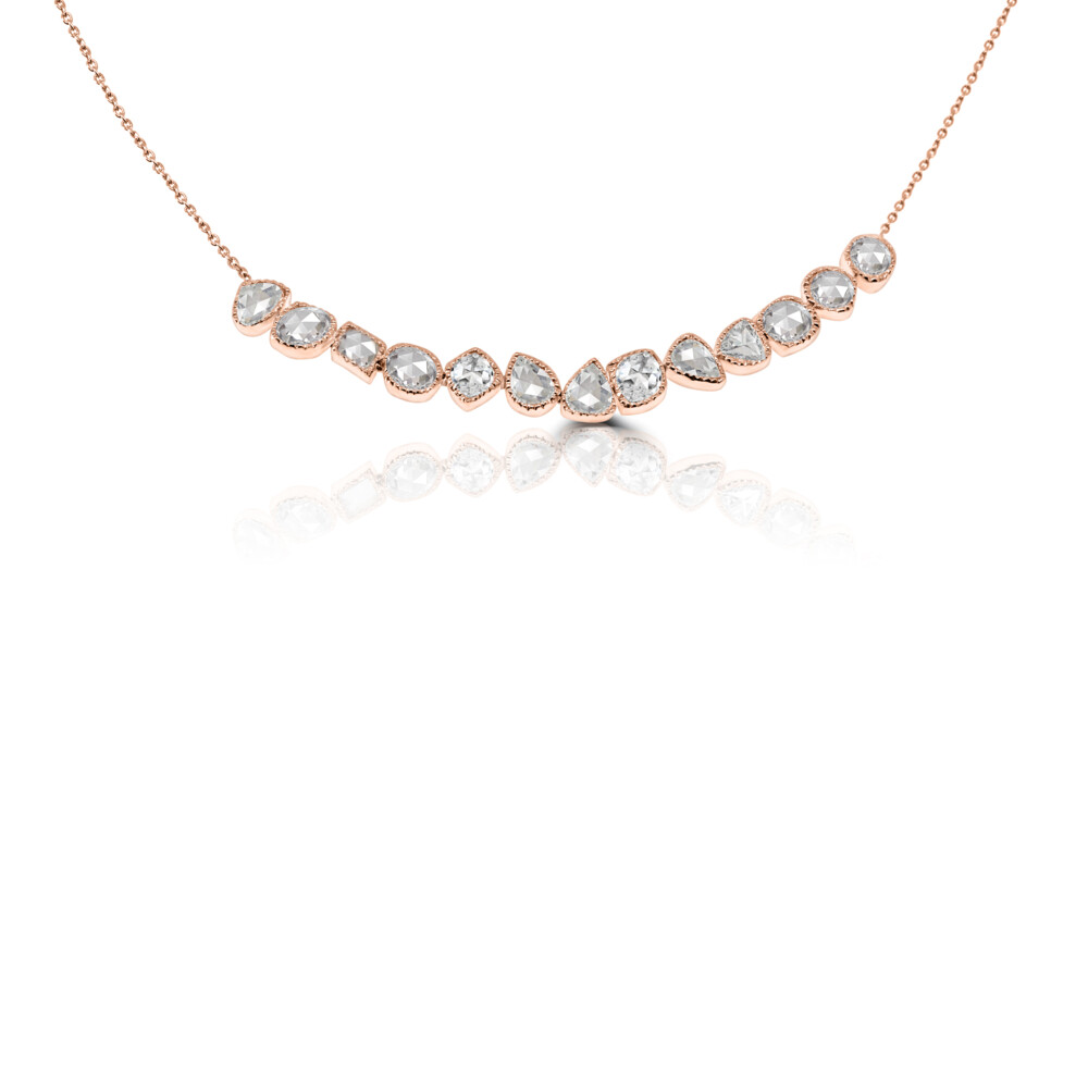 18k RG Rose Cut Diamond Bar Necklace