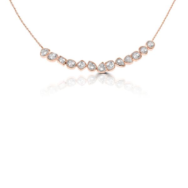 Closeup photo of 18k RG Rose Cut Diamond Bar Necklace