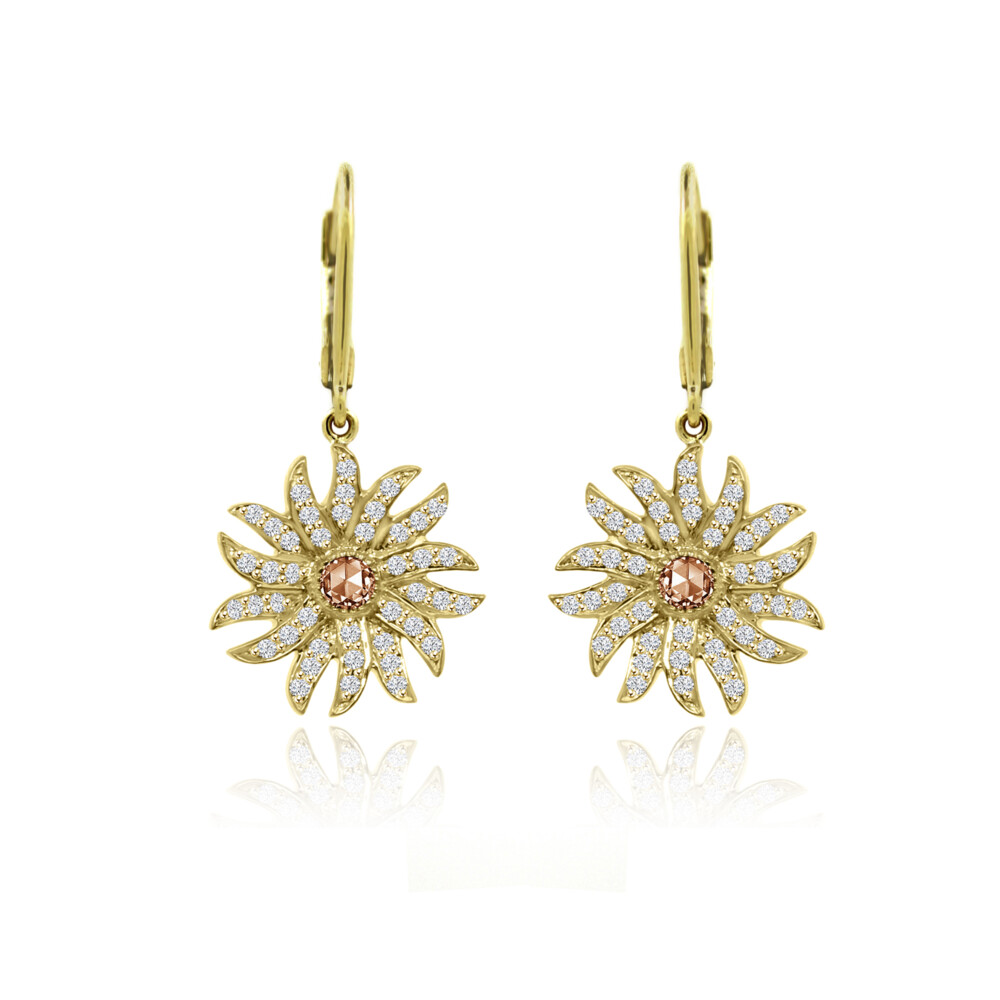 18k Flower Dangle Earrings with Champagne Rose Cut Diamond Centers