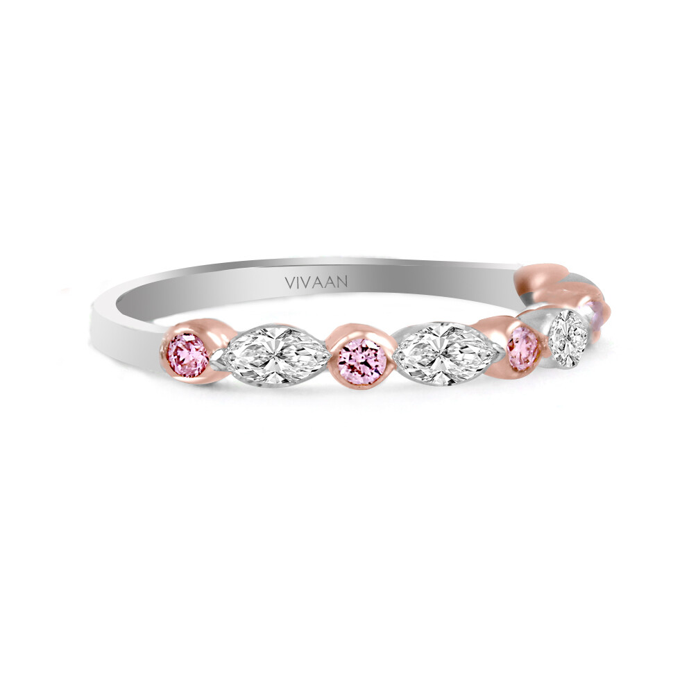 18k WG Pink Diamond and Marquise Diamond Half Band