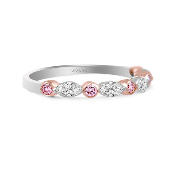 Closeup photo of 18k WG Pink Diamond and Marquise Diamond Half Band