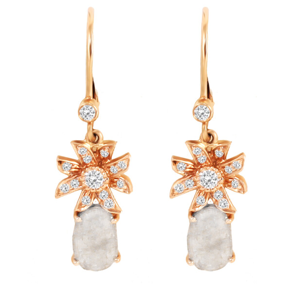 Closeup photo of 18k RG Flower Earrings with Rose Cut Diamonds and Icy Diamond Slices