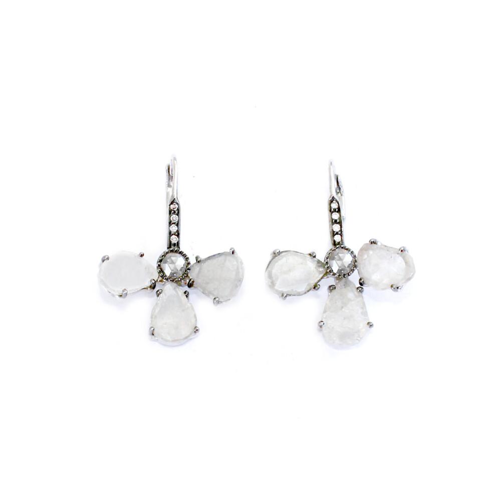 18k WG Icy Diamond Slice Earrings