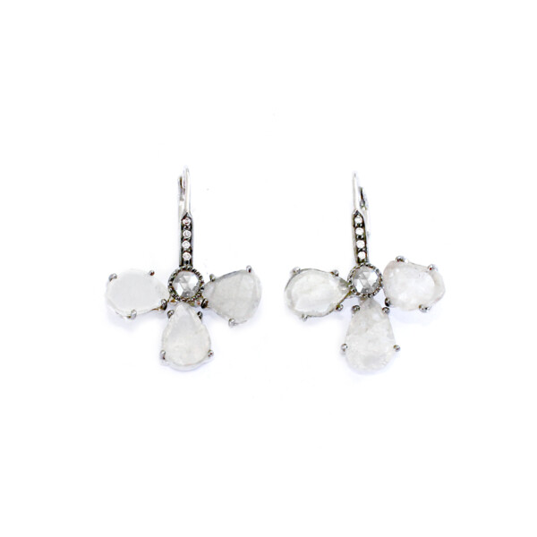 Closeup photo of 18k WG Icy Diamond Slice Earrings