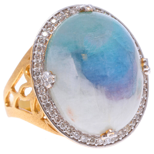 Closeup photo of 18k Multitone Paraiba Tourmaline Ring with Diamonds