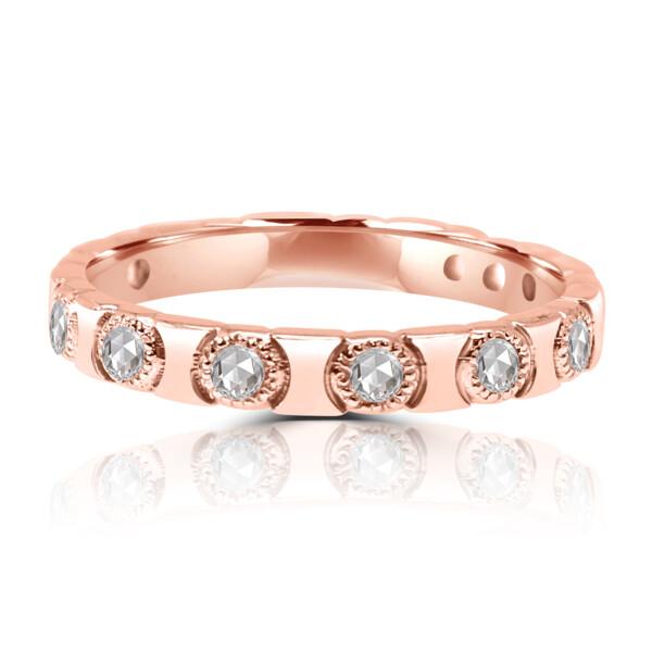 Closeup photo of 18k RG Rose Cut Diamond Stack Ring