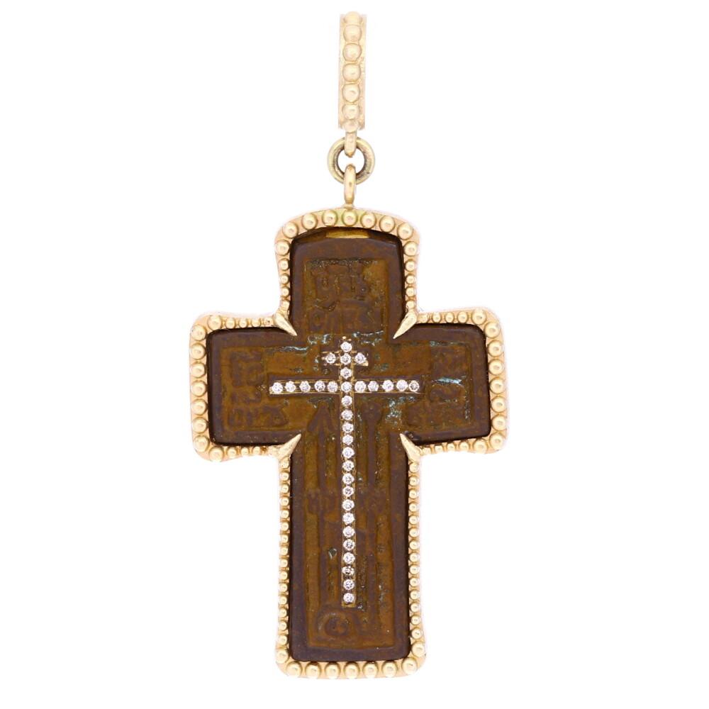 Large Micro-Bead Cross 14k Gold with Diamonds