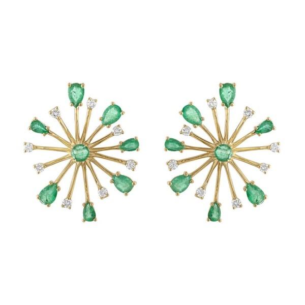 Closeup photo of Pop Rocks Emerald Earrings - Large