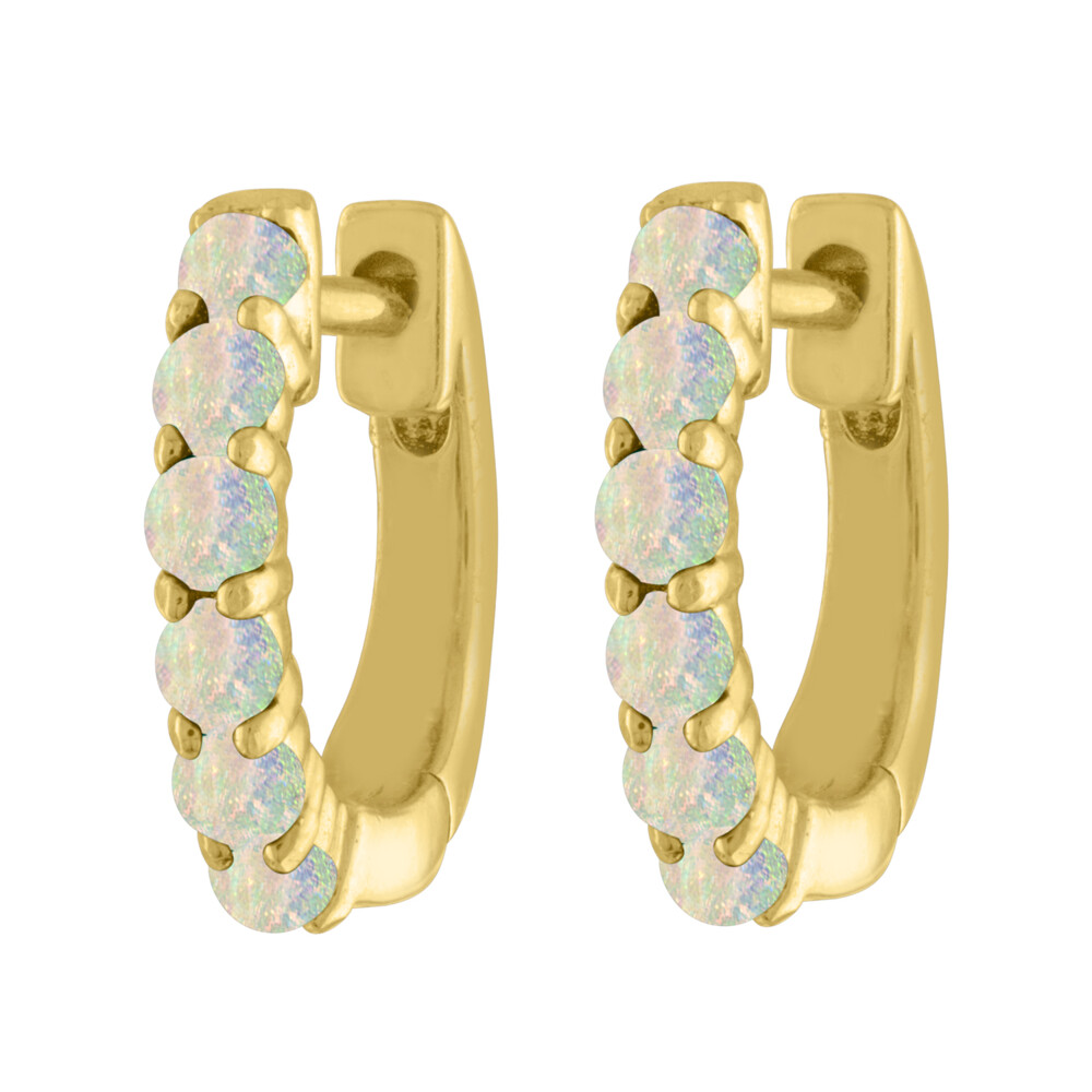 Cabochon Huggies 14k Yellow Gold; Cabochon Colored Stones; 11 X 2 Mm