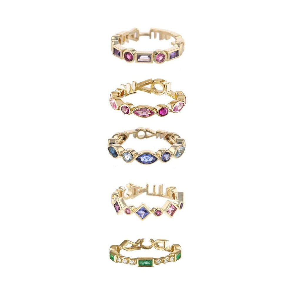 Tattoo Candy Ring 14k Yellow Gold; 1.00-1.70cttw Colored Stones; 4mm Width
