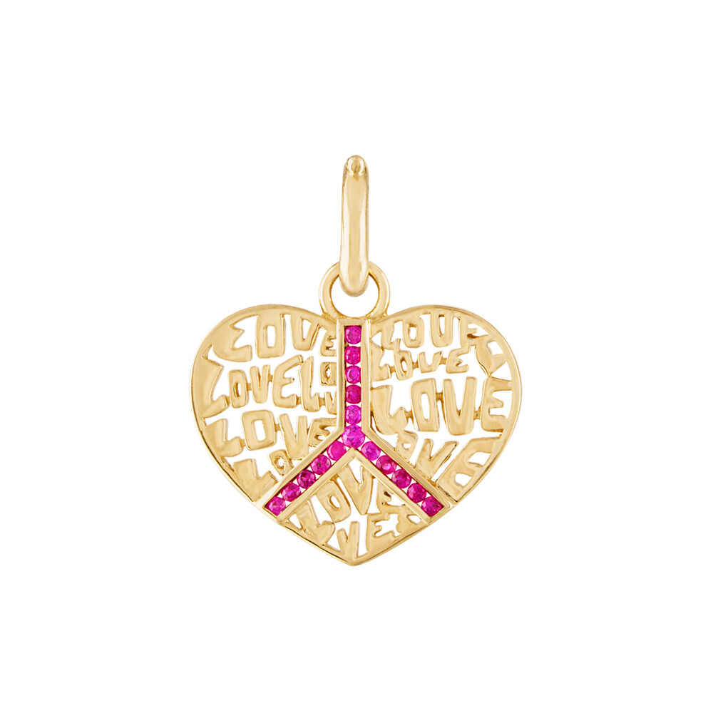Peace & Love Pendant Bc 195 14k Yellow Gold; 0.36cttw Ruby; 17.5 X 22 Mm With 8.5mm Latch Bale