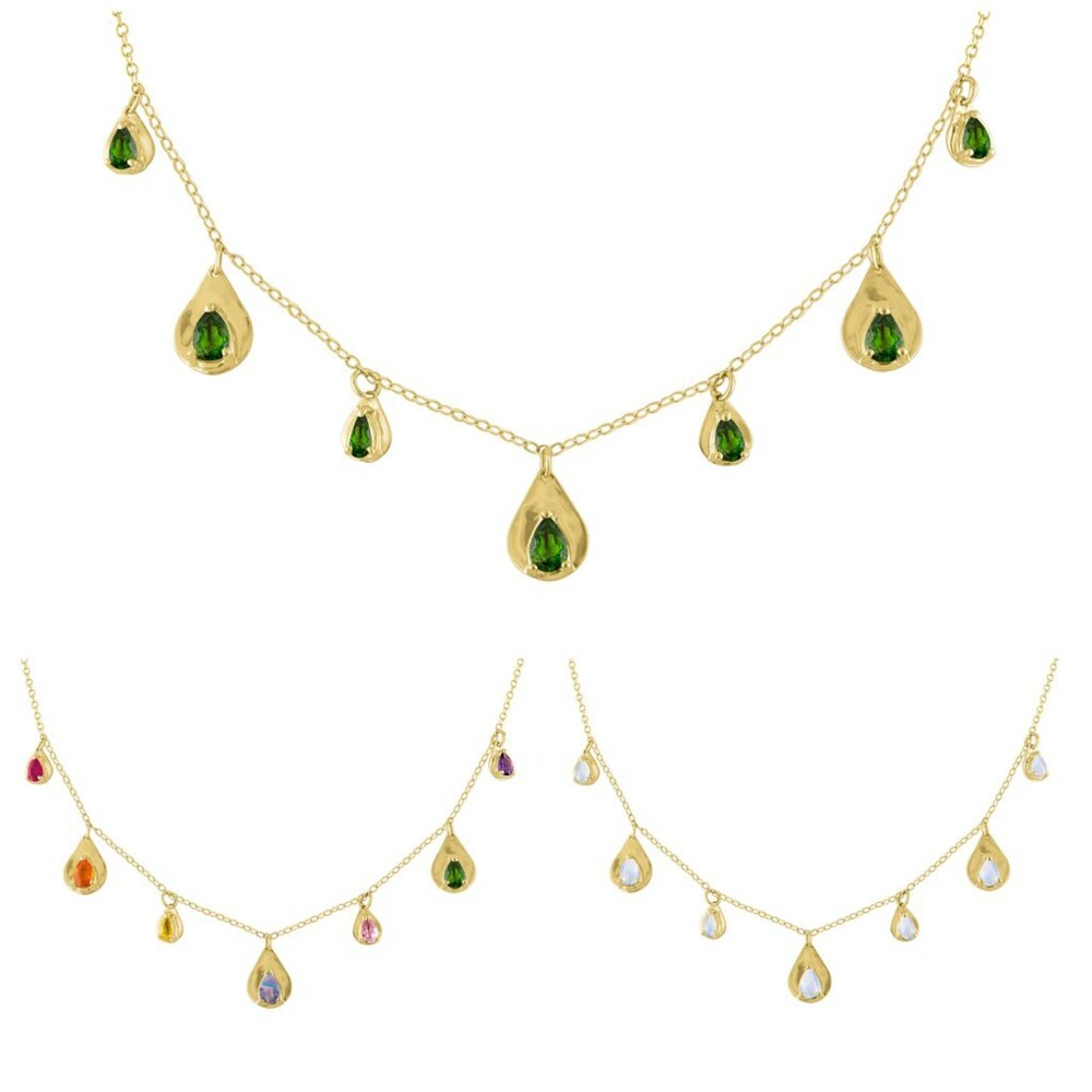 """Teardrop Precious Stone Necklace 14k Yellow Gold; Colored Stones 1.67cttw 15"""" With 1"""" Expansion Link"""