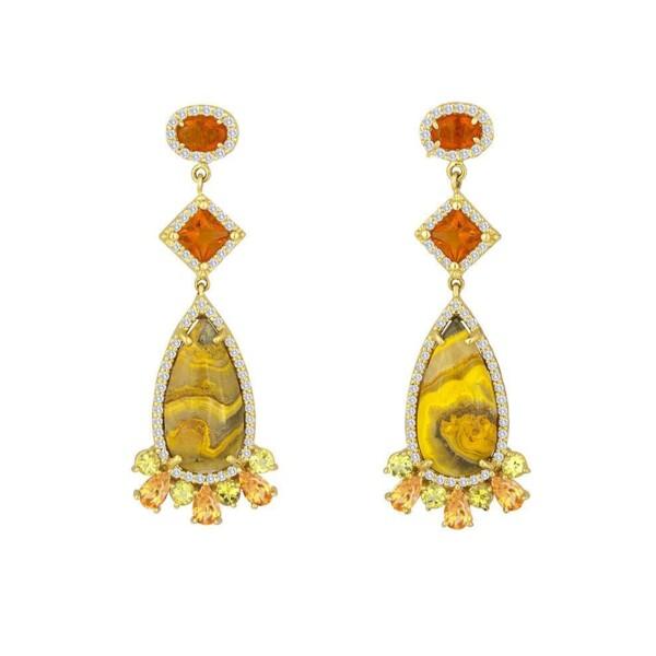 Closeup photo of Manganese Sulfide Fire Opals Yellow Tourmaline Diamond Earring