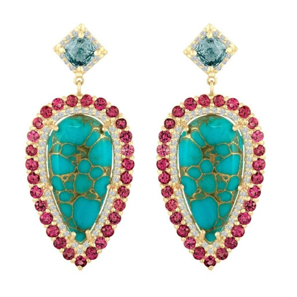 Closeup photo of One Of A Kind Copper Turquoise & Spinel Earrings
