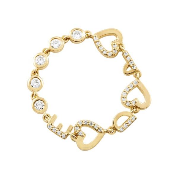 Closeup photo of Three Initial Bezel Chain Ring *Customizable