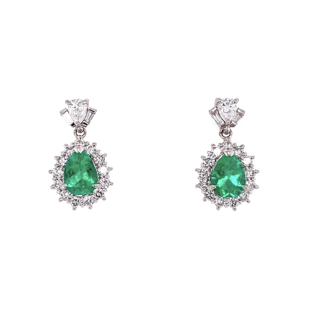 """Platinum Pear Emerald & Diamond Drop Earrings 5.8g, 0.75"""" Tall"""