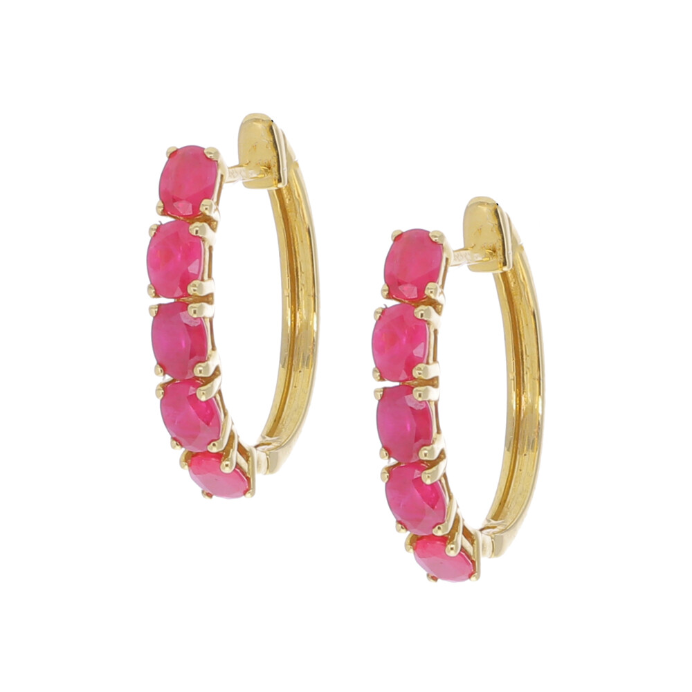 18k Gold Ruby Hoop Earrings