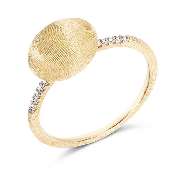 Closeup photo of Dancing Elite Large Gold Boule & Diamond Stack Ring