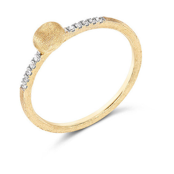 Closeup photo of Dancing Elite Tiny Gold Boule & Diamond Stack Ring