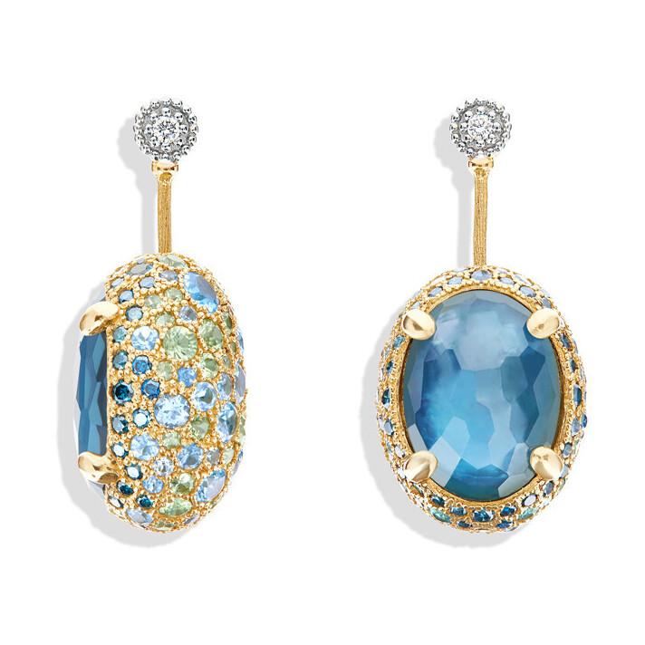 Dancing Reverse Large Earrings in Ocean Blue