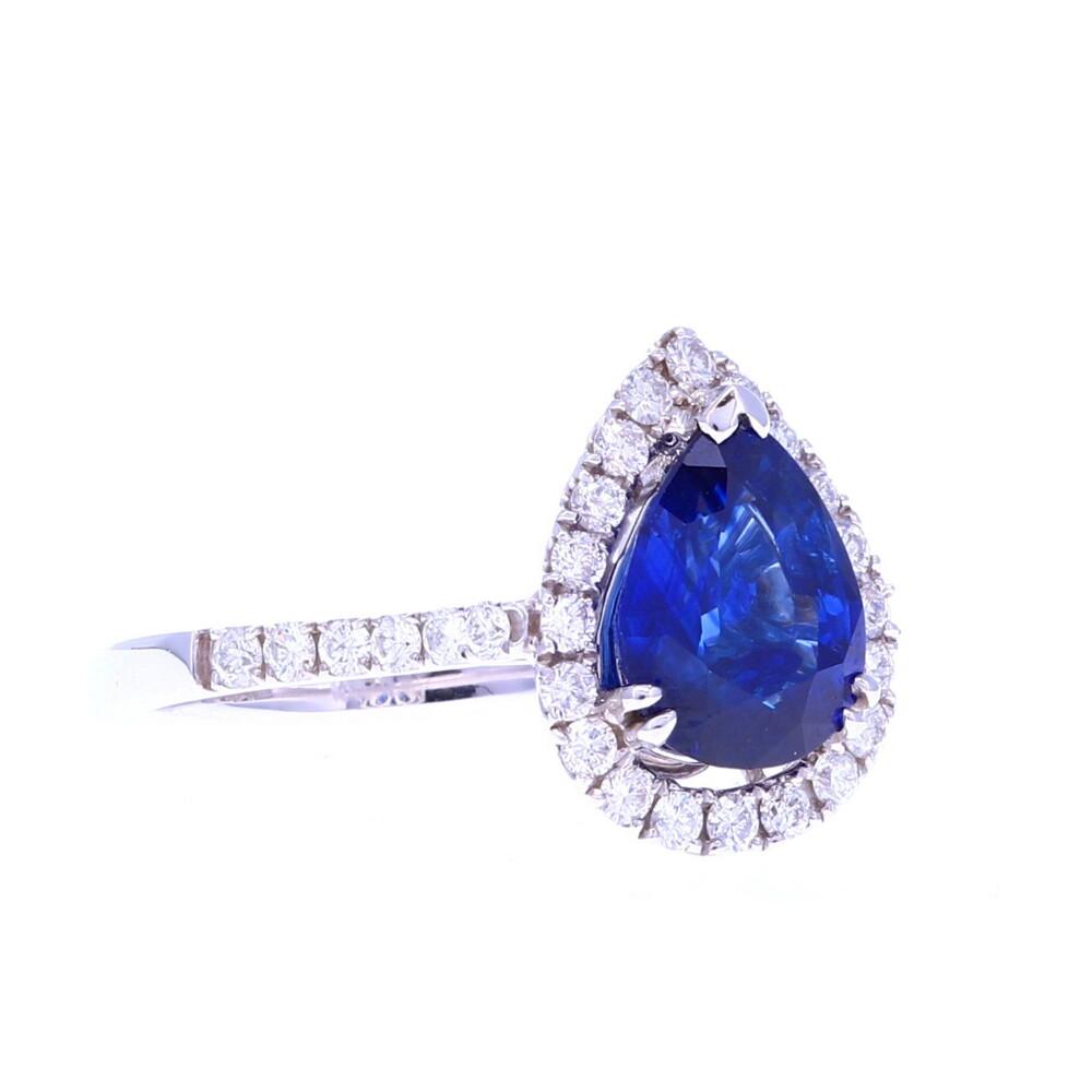 18k Pear Ceylon Sapphire Ring