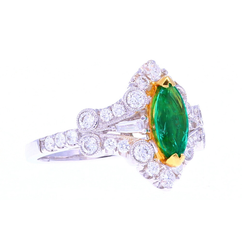 18k Marquis Emerald Ring