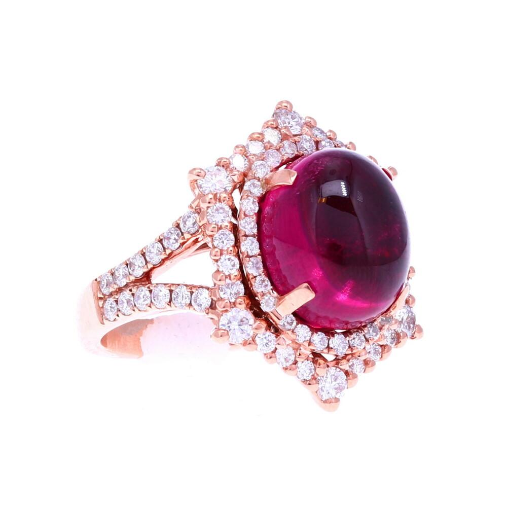 18k RG Rubellite Cabochon Ring