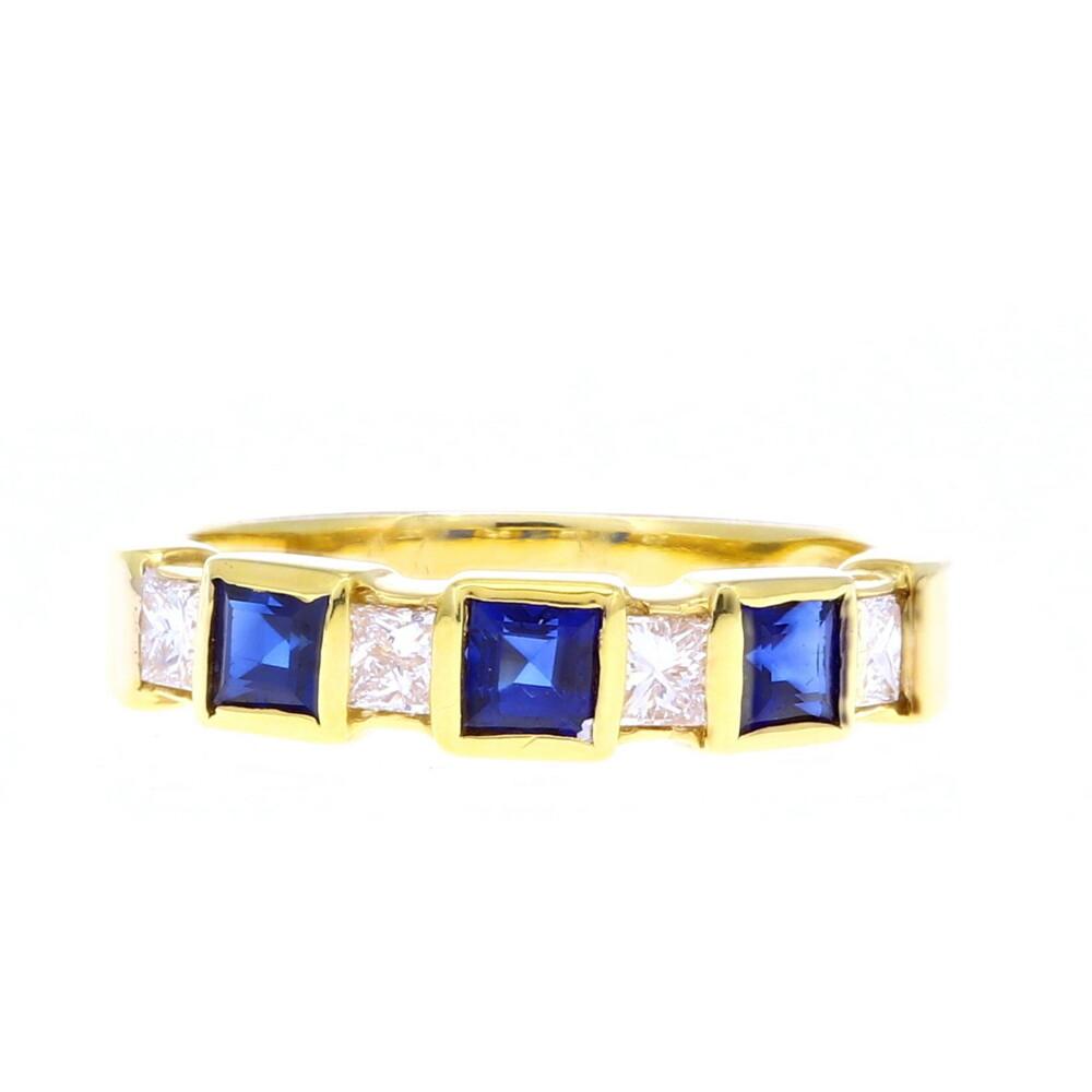 18k Princess Cut Sapphire & Diamond Stack Band