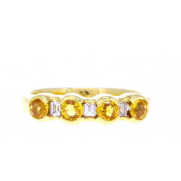 18k Yellow Sapphire & Diamond Stack Band