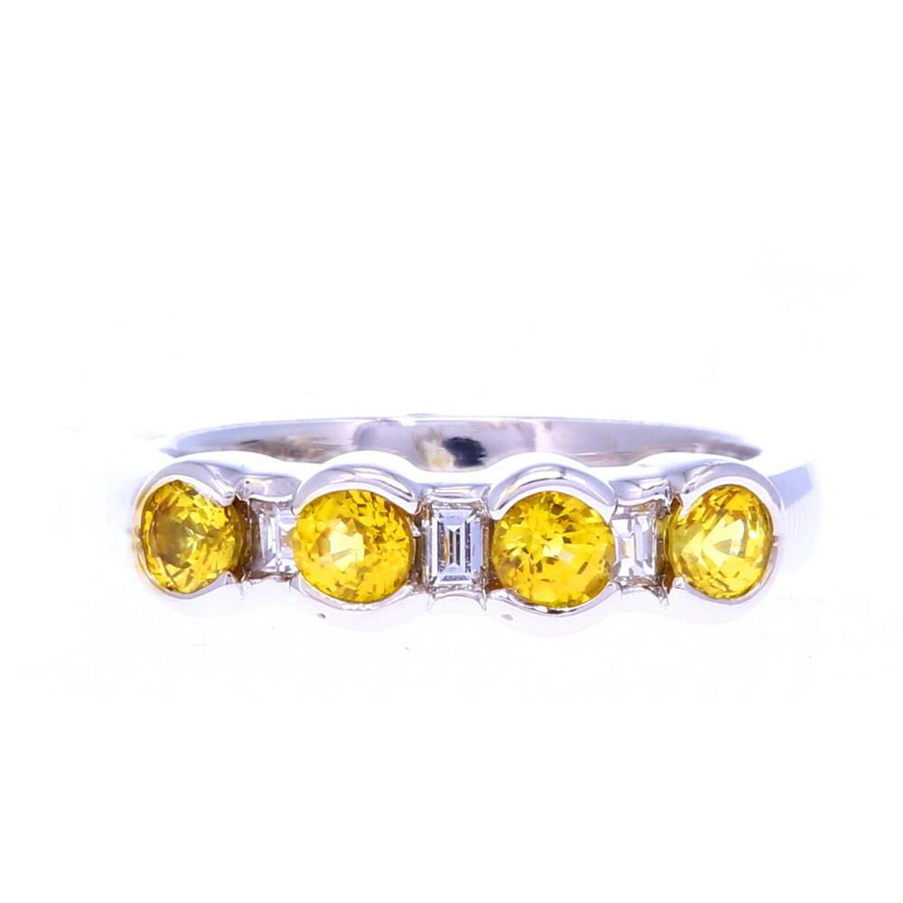 Platinum Yellow Sapphire & Diamond Stack Band