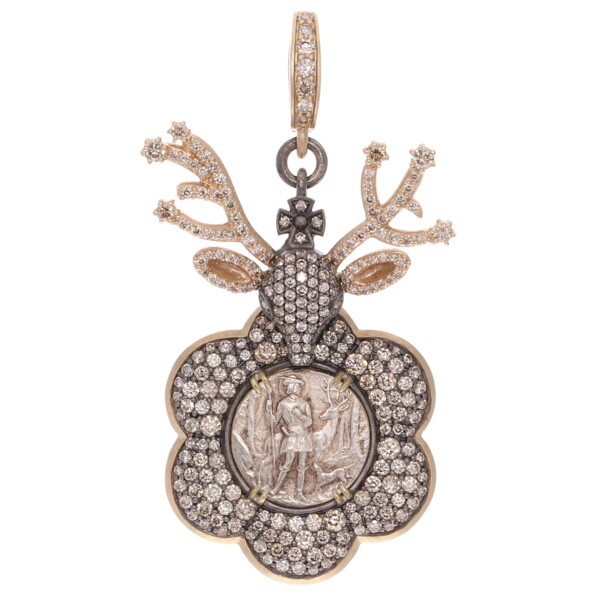 Closeup photo of Antique French St Hubert with Stag Mount Pendant