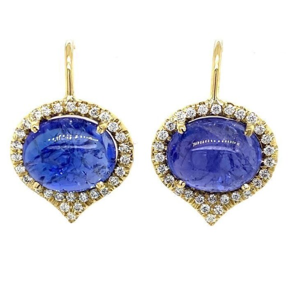 Closeup photo of Cabochon Tanzanite Jordan Earrings
