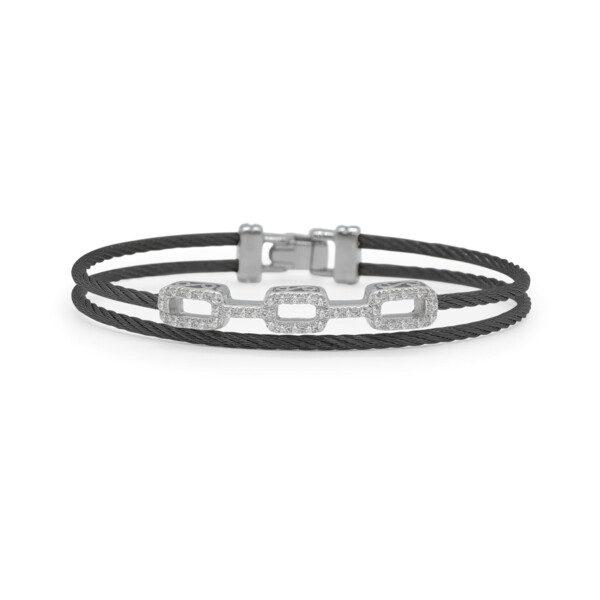 Closeup photo of Black Cable Petite Layered Links Bracelet with 18kt White Gold & Diamonds