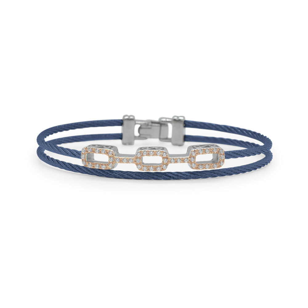 Blueberry Cable Petite Layered Links Bracelet with 18kt Rose Gold & Diamonds