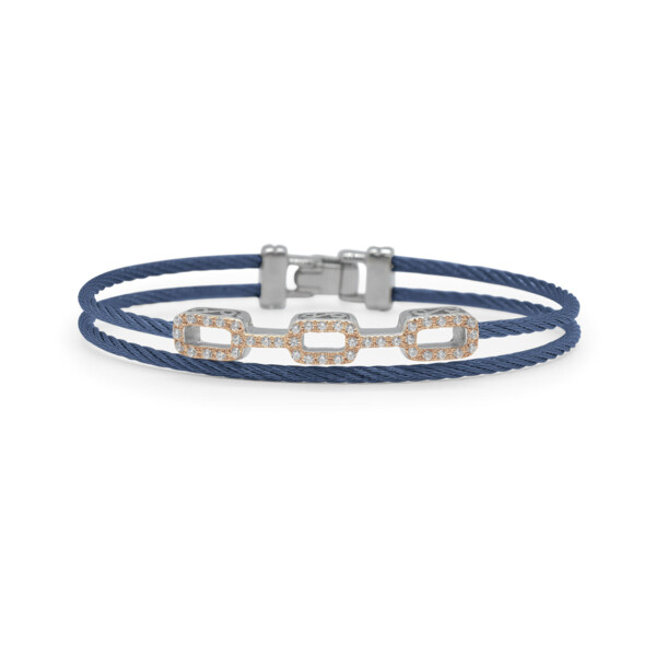 Closeup photo of Blueberry Cable Petite Layered Links Bracelet with 18kt Rose Gold & Diamonds