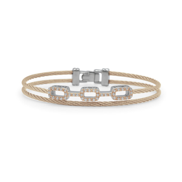 Closeup photo of Carnation Cable Petite Layered Links Bracelet with 18kt Rose Gold & Diamonds