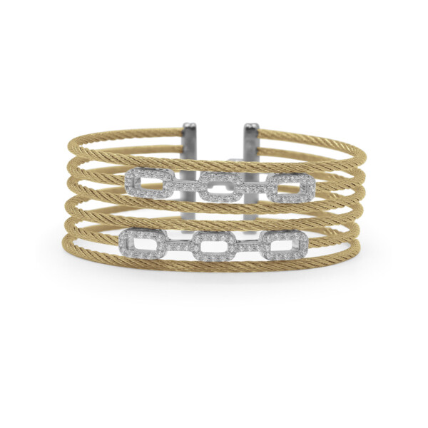 Closeup photo of Yellow Cable Layered Links Bracelet with 18kt White Gold & Diamonds