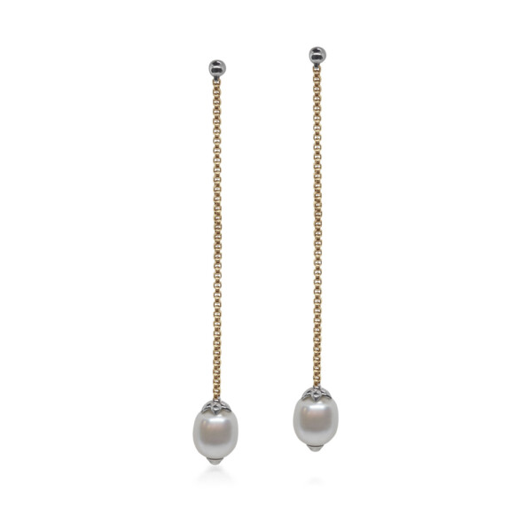 Closeup photo of Yellow Chain Reaction Pearl Shoulder Duster Earrings