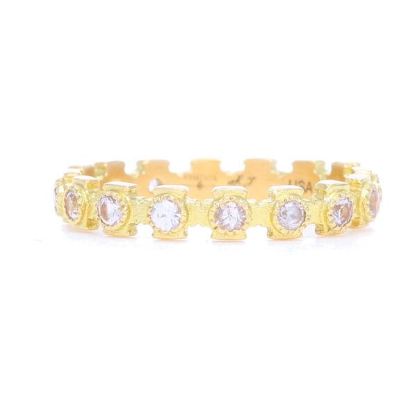 Closeup photo of 18k Yellow Gold Cross Stack Sapphire Ring