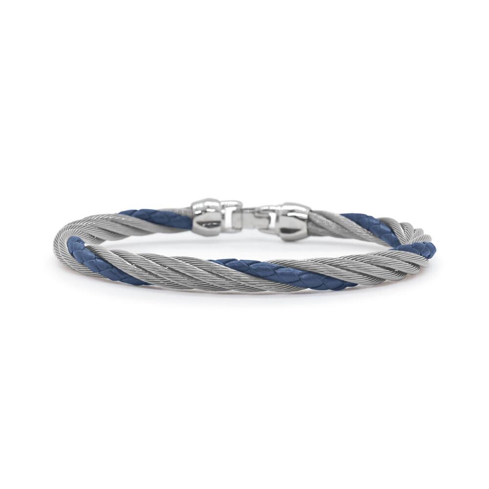 Men's Steel & Blue Leather Twist Bracelet