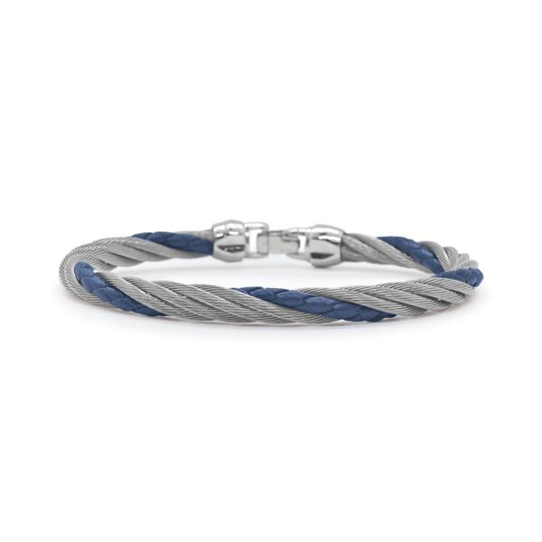 Closeup photo of Men's Steel & Blue Leather Twist Bracelet