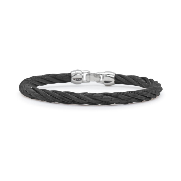 Closeup photo of Black Cable & Black Leather Modern Twist Bracelet