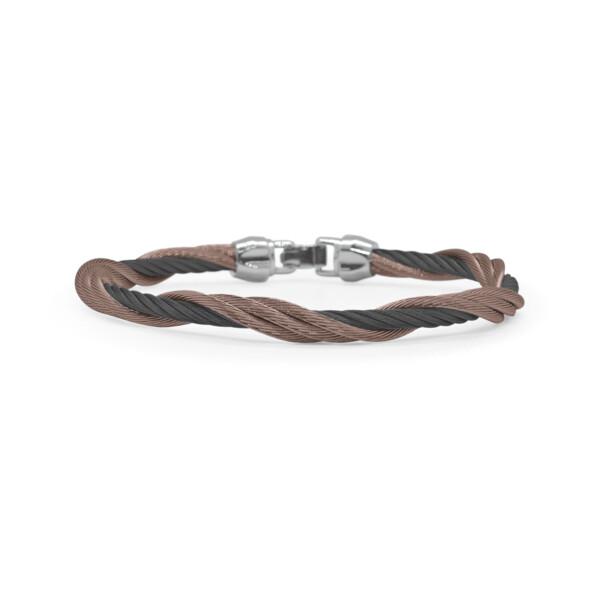 Closeup photo of Black & Bronze Cable Modern Twist Bracelet