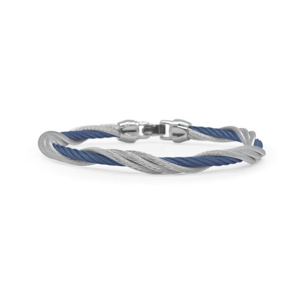 Closeup photo of Black & Blueberry Cable Modern Twist Bracelet